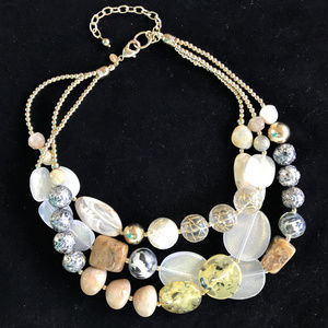 CHICO'S Chunky Gold Acrylic & Marble Necklace